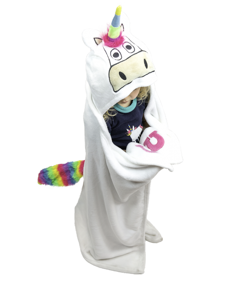 Unicorn | Kids Hooded Fleece Blanket - Lazy One®